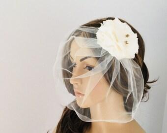 Ivory birdcage veil tulle
