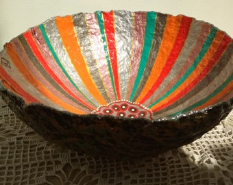 Stylized silver flower, Hand painted paper mache bowl, Cute fruit bowl, Handmade art decor, Beautiful candy plate, Home accents Centerpieces