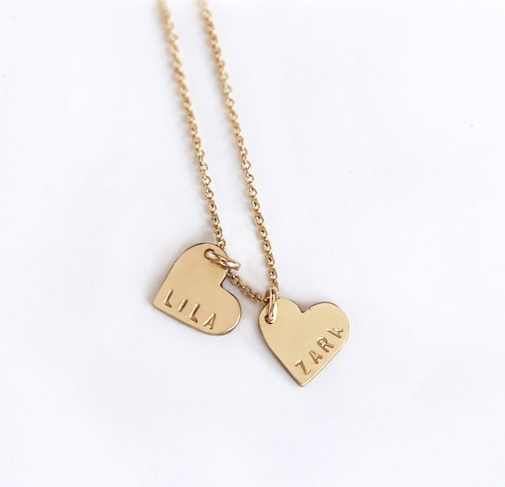Personalized double heart necklace two hearts necklace mom like this item aloadofball Image collections