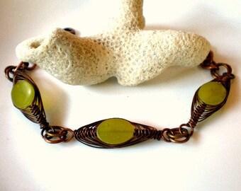 Bracelet - Green Serpentine Copper Wire Wrapped Bracelet, Copper Herringbone Weave, Green Coin Beads Copper Wire Wrap Bracelet