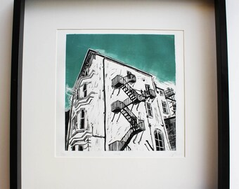 Brighton and Hove building regency architecture cityscape linocut linoprint printmaking drawing illustration limited edition fine art