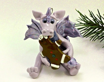 Dragon PORCELAIN Christmas Ornament Figurine Gingerbread Cookie OOAK