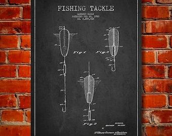 1950 Fishing Tackle Patent, Canvas Print, Wall Art, Home Decor, Gift Idea