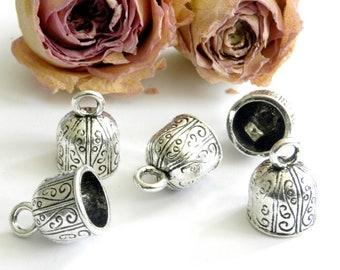 Silver Bells x 3 12 mm Tibetan bead caps