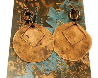 Handcrafted Hammered Copper Earrings