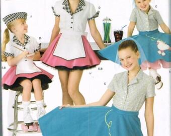 Size 3-6 Girls  Halloween Costume - 50's Poodle Skirt Pattern - Roller Skate Car Hop Waitress Costume - Retro Costume - Simplicity 3836