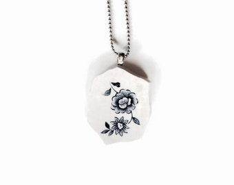 blue necklace, ceramic jewelry, broken china jewellery, blue pendant, unique design jewelry, vintage jewelry, artistic jewelry, blue jewelry