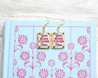Custom Book Earrings. Book Charm. Book Jewellery. Author Writer Gift. Literary Jewelry. Book Lover. Mini Miniature Books. Locket Library