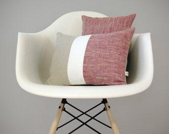 MARSALA Chambray Color Block Pillow   Minimal Home Decor by JillianReneDecor   Colorblock Pillow   2015 Pantone