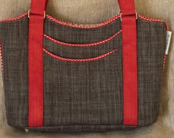 grey and Red handbag