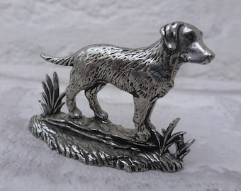 Dog vintage pewter miniature figurine England small gift him present boyfriend home decor vintage English pewter dog mum present dad small.