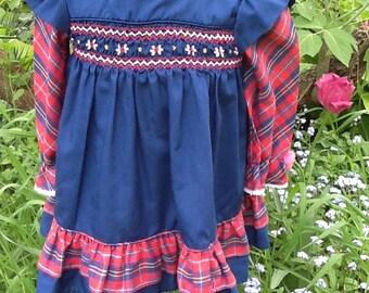 Vintage Polly Flinders Hand Smocked Dress Toddler Size  2T