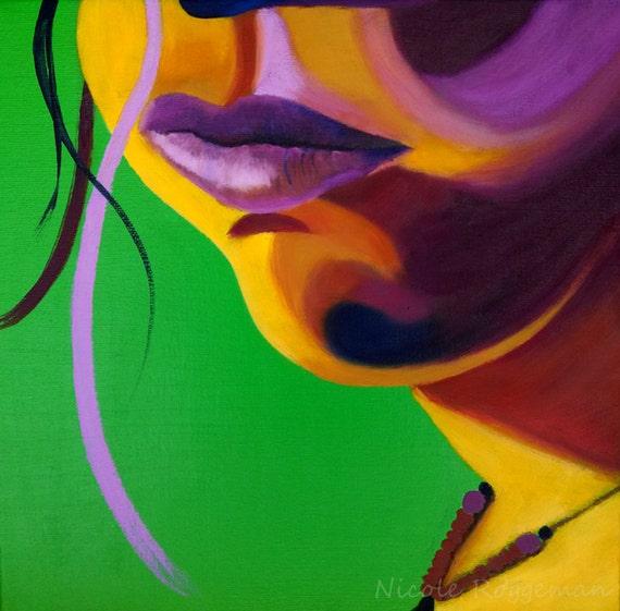 Studio Clearance Sale, Art Sale, Lips, flourescent, lime green, magenta, pop art, womans face, portrait, fashion, full lips, strand of hair