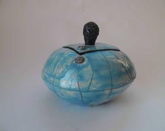 Turquoise raku box