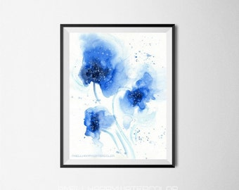 Blue Abstract Watercolor Flower Print, Blue watercolor, Blue print, Blue flower, Minimalism Painting, Wall Decor, Fashion Poster wall print