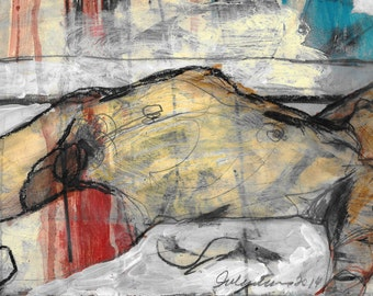 Laid original mixed media gestural figurative drawing by Juliana Coles