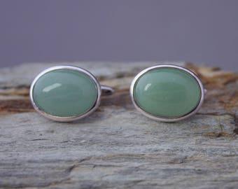 Aventurine cufflinks, pale green gemstone cuff links