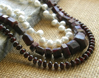 3-Strand Garnet, Ruby and Pearl Long Necklace