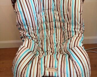 Hula Moon Toddler Blue/Brown Stripe/Dot Car Seat Cover