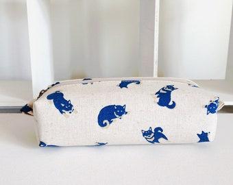 Long box pouch -Shiba-inu in natural