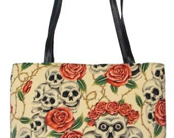 "USA Handmade Handbag With ""Skulls PINK ROSES"" Pattern Bag Purse, Cotton, New"