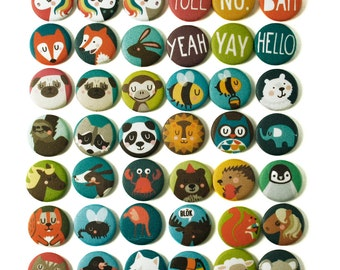 3 animal fabric badges, pins, brooches, PICK YOUR FAVOURITES