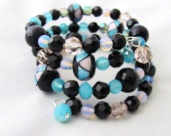 Lampwork Bead Bracelet Lampwork Bead Memory Wire Bracelet Black Bracelet Pink Bracelet Light Blue Bracelet Swarovski Crystal