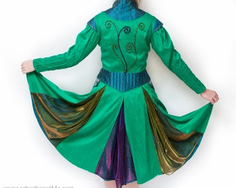 Silk Victorian Peacock Coat Dress