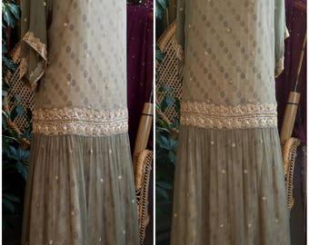 Printemps Jolie 1920's Silk Chiffon Two Piece Egyptian Style Handmade Dress Overdress Gown 20s Style Flapper Gatsby Art Deco