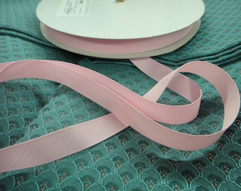"1 Spool 100 Yards of 5/8"" Wide (15 mm) Grosgrain Pearl Pink Ribbon for Wedding Decor Florist Millinery Made in USA ST"
