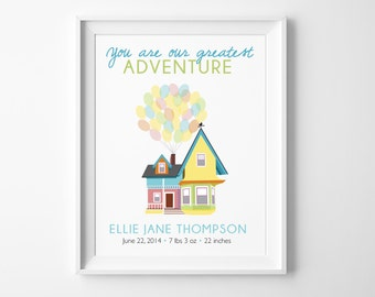"""Disney UP Baby Greatest Adventure Birth Stats - """"You Are Our Greatest Adventure """" Nursery Decor with Carl & Ellie's House to Paradise Falls"""