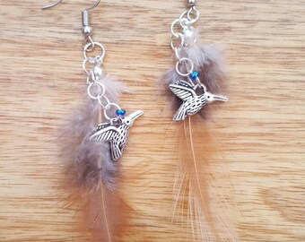 Bird with feather, dangle earrings