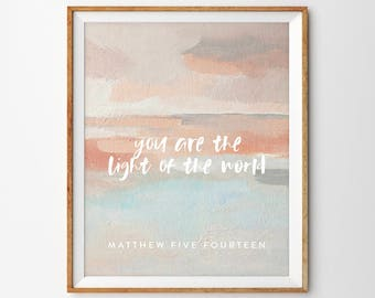 You Are the Light of the World Abstract Ocean Sunset Scripture Print (Matthew 5:14)