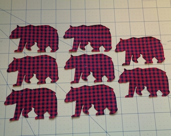 Set of Eight Buffalo CheckPlaid Black and Red Bear Iron On Appliques Lodge Theme