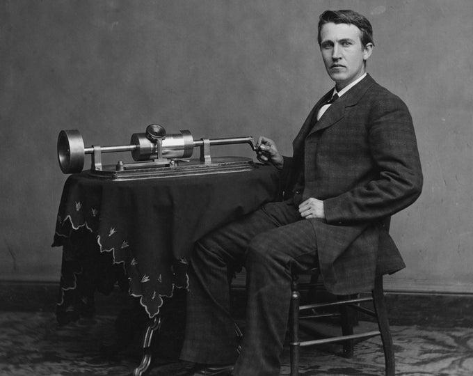 Thomas Alva Edison With His Second Phonograph - 5X7, 8X10 or 11X14 Photo (EP-604)