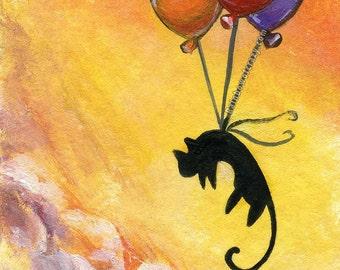 Black Cat Art Print, Balloon Decor, Nursery Wall Art, Memorial Gift, Pet Artwork, Childrens Room Art, Animal Illustration, Orange Sky