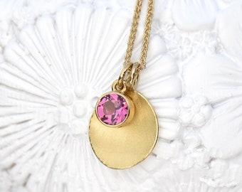 Pink Tourmaline Petal Charm Pendant, Ethical 18k Gold
