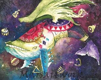 Windfish: Legend of Zelda artwork (11x14) watercolor