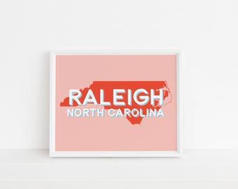 Raleigh, North Carolina Print | North Carolina | Raleigh Art | Printable Art | Nursery Art | Gallery Wall Art | Wall Art | Instant Download