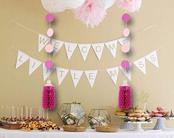 2 Baby Bottle Garland Banner with Circles Hanging Honeycomb for Baby Shower