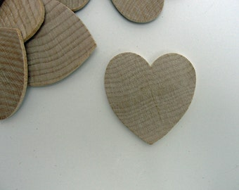 "25 Wooden hearts 1 3/4 inch (1.75"")  wide 1/8"" thick unfinished wood hearts diy"