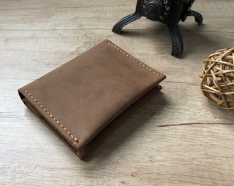 Handmade bifold small leather wallet - free shipping Etsy
