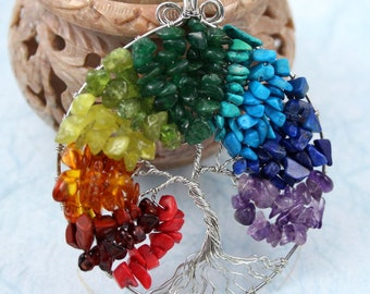Rainbow silver-plated Tree of Life pendant, Red coral, garnet, jasper, jade, peridot, aventurine, turquoise, howlite, lapis lazuli, amethyst