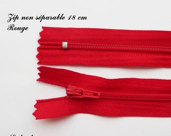 1 simple not separable 18 cm zipper: Red