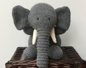 Hand knitted elephant - Plush stuffed toy-Handmade toy, Soft Knitted Novelty Toy- Nursery Gift - Keepsake- Ellie the elephant.