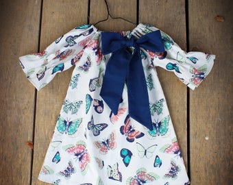 Girls bow dress, dress with sash, Easter outfit, butterfly, baby girls dress, toddler, sizes Newborn to 11/12, rustic, butterflies, navy