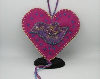 Purple Bird on Pink Heart