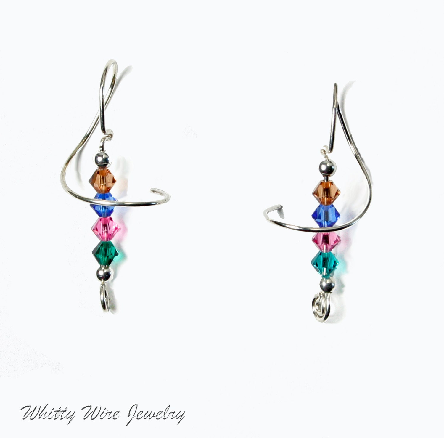 sterling silver swirl pierced earrings with multicolored