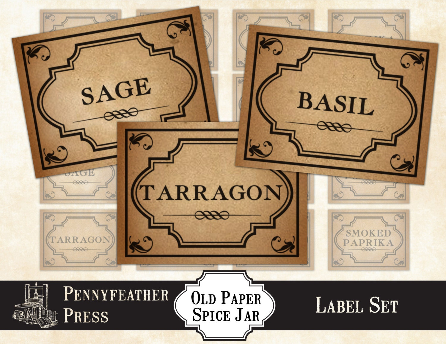 printable vintage paper herbs and spices label set stickers. Black Bedroom Furniture Sets. Home Design Ideas
