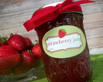 Oval Strawberry Jam canning jar labels, quilted jam jar labels, oval fruit mason jar labels, strawberry jam jar stickers